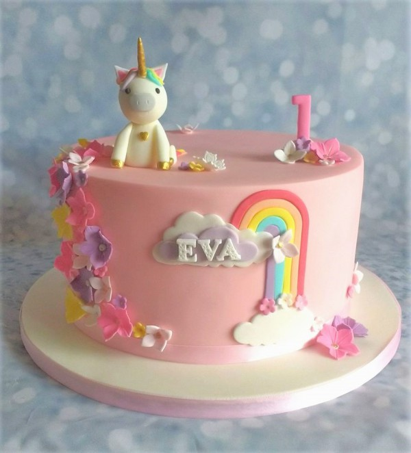 Rainbow Unicorn 1st Birthday Cake